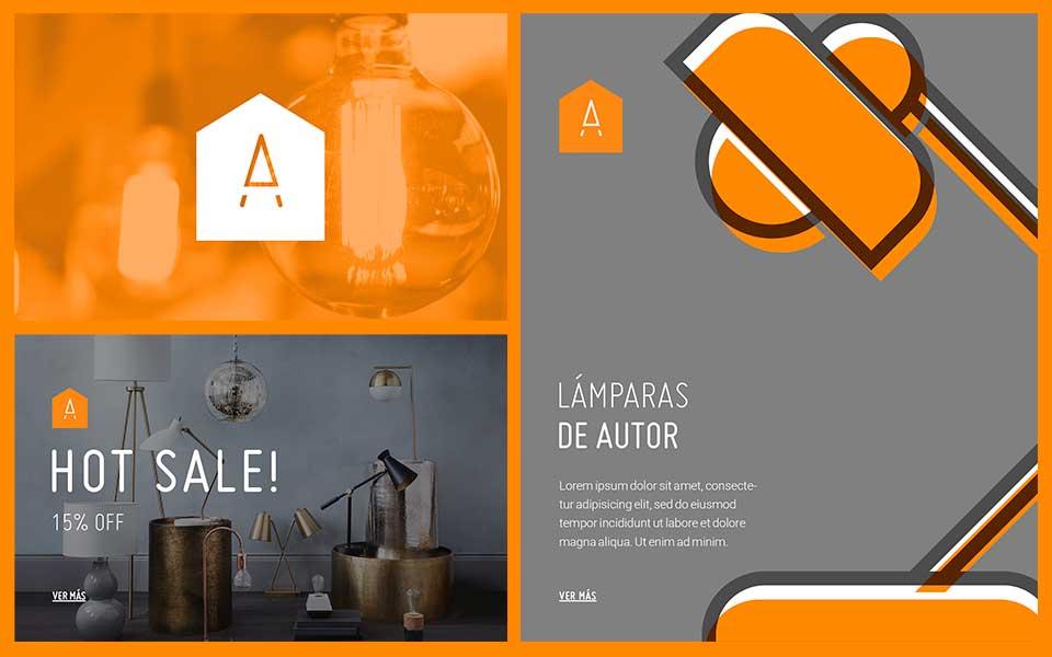 Ejemplos diseño de identidad Almacén de Lámparas