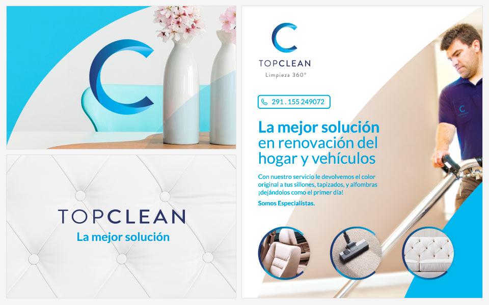 Ejemplos diseño de identidad Top Clean