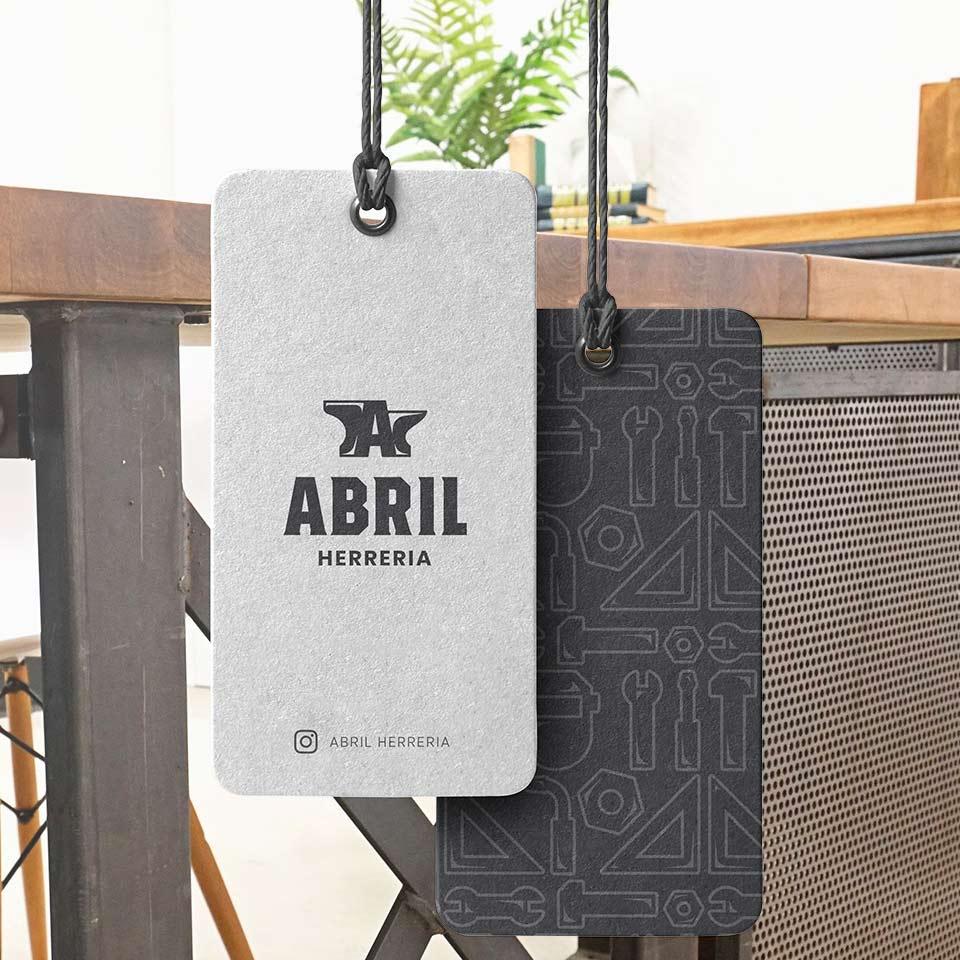 Diseño de Papelería corporativa y material de promoción para Abril Herrería.