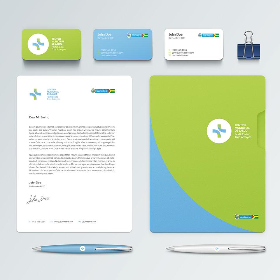 diseño papelería proyecto Centro de Salud partido de Tres Arroyos