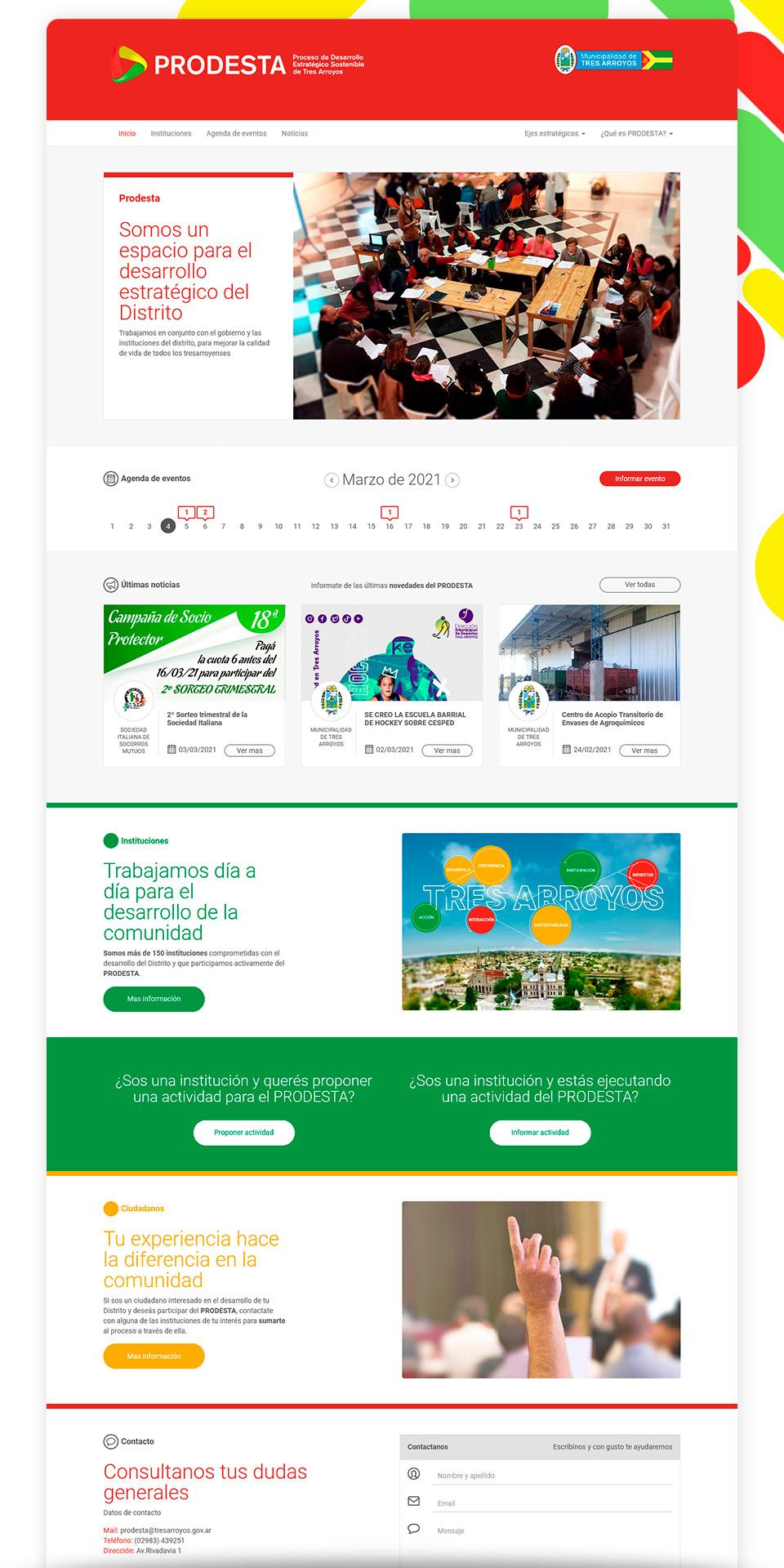 Página de Inicio vista en una Laptop del Sitio Web: https://prodesta.org.ar/inicio
