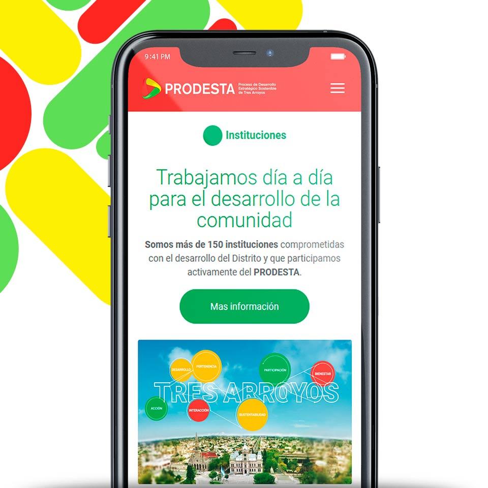 Portada del proyecto de Diseño y Desarrollo de Sitio Web a Medida de: Prodesta, Espacio para el Desarrollo Estratégico de Tres Arroyos.