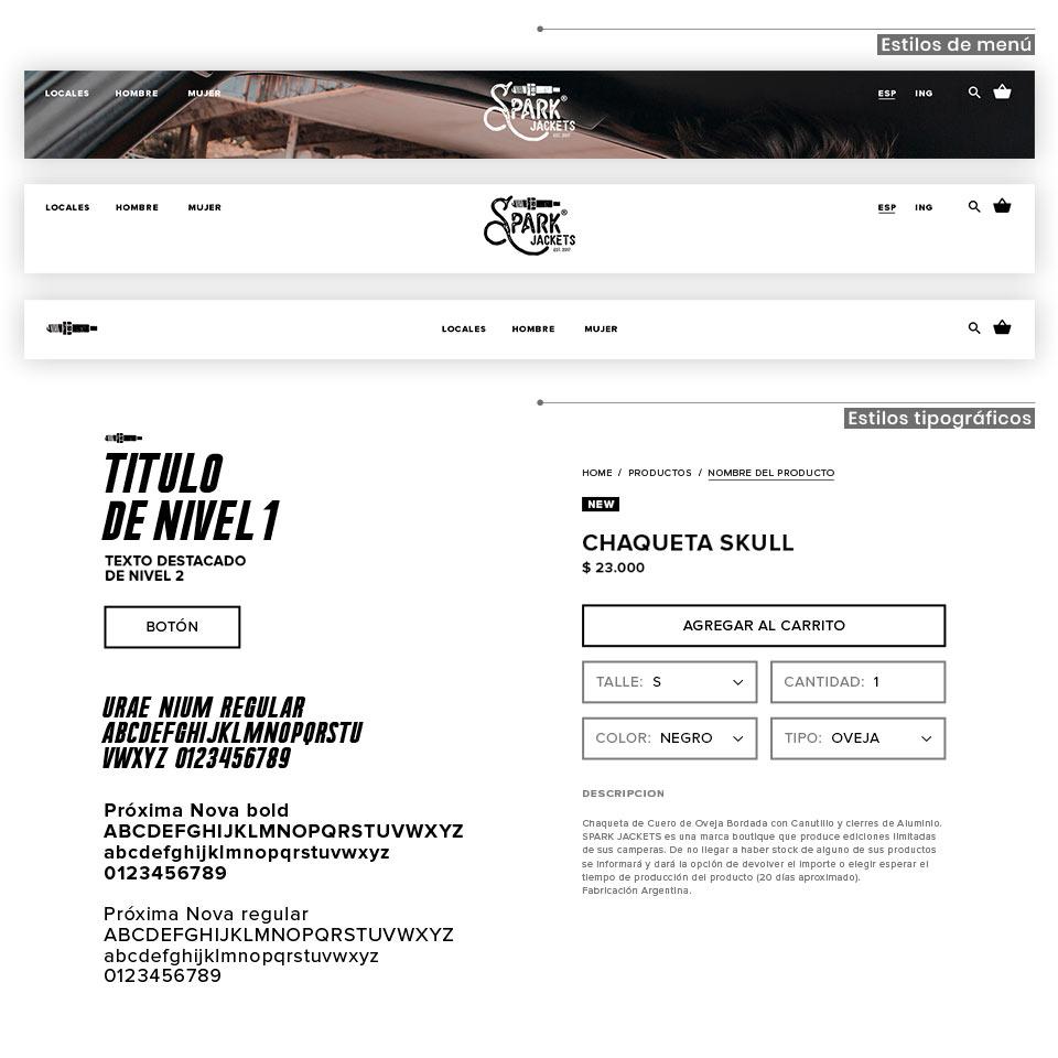 Diseño de los estilos tipográficos para la Tienda Online de https://www.sparkjackets.com/