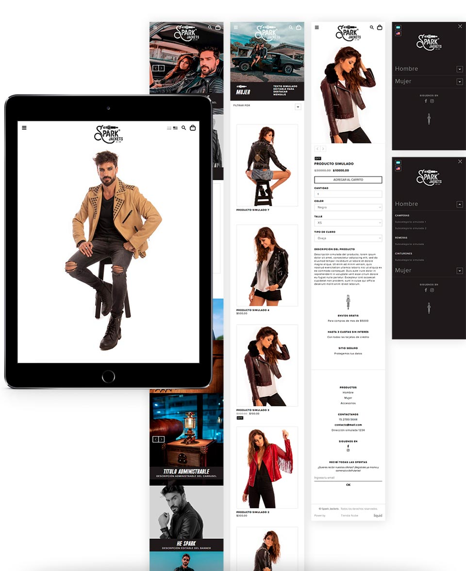 Diseño Responsive para la Tienda Online de https://www.sparkjackets.com/