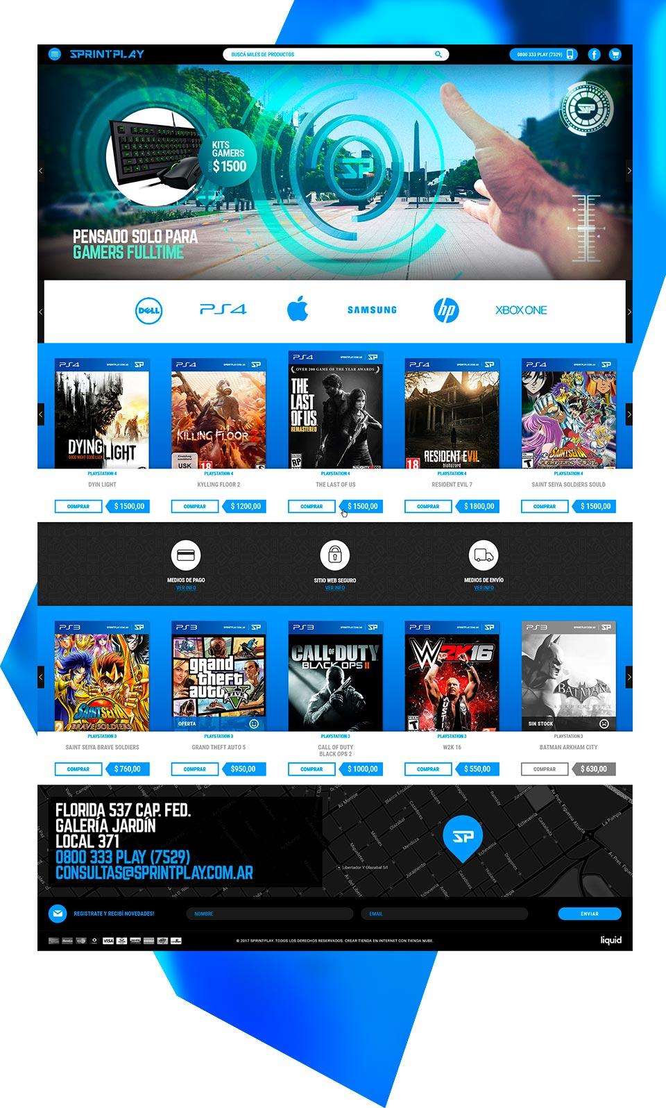 Diseño de la página de Inicio de la Tienda Online de Sprintplay.