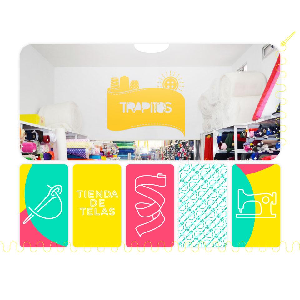 Diseño gráfico de Showrooms para Trapitos, tienda de telas.