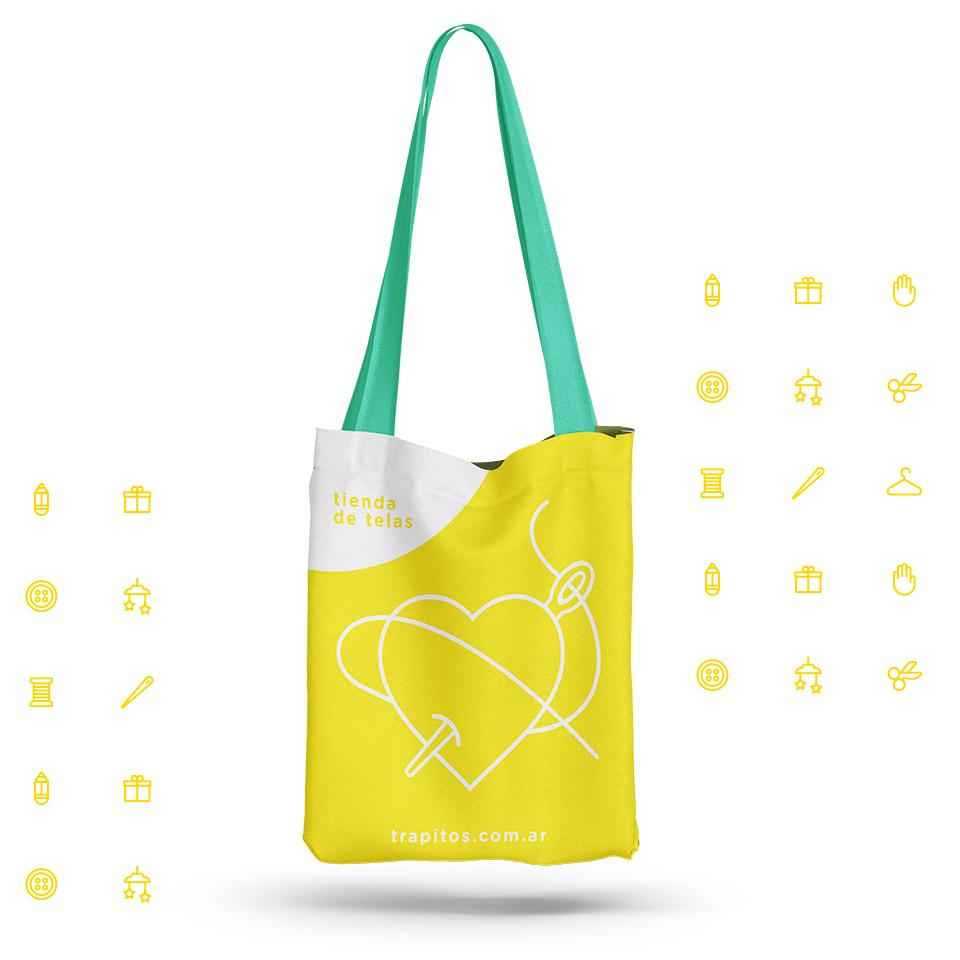 Diseño de Packaging y material de promoción para Trapitos, tienda de telas.