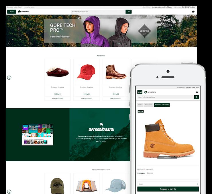 Ejemplo diseño tienda online Aventura
