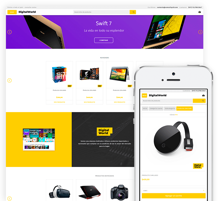 Ejemplo diseño tienda online Digital World