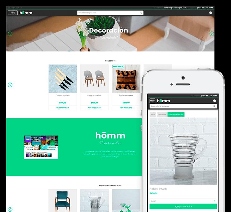 Ejemplo diseño tienda online Homm
