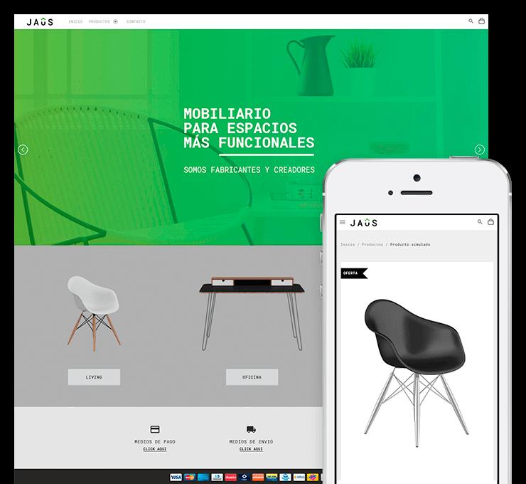 Ejemplo diseño tienda online Jaus