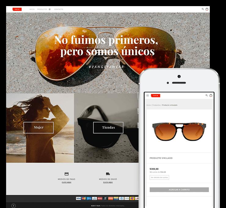 Ejemplo diseño tienda online Valk